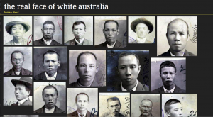 Fig. 3.2 Randomly ordered portraits from the National Archives of Australia extracted using a face detection script. Clicking on a portrait reveals the document it came from, as well as a link to explore the context of the document in the National Archives's RecordSearch database (Image courtesy of http://invisibleaustralians.org/faces/; used under Creative Commons license (CC BY 3.0))